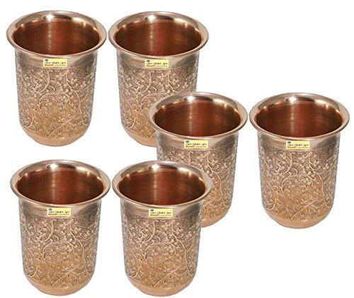 SHIV SHAKTI ARTS Handmade Pure Copper Embossed Glass Tumbler Volume - 200 Ml 6