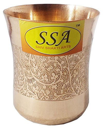 SHIV SHAKTI ARTS Handmade Pure Copper Embossed Glass Tumbler Volume - 300 Ml
