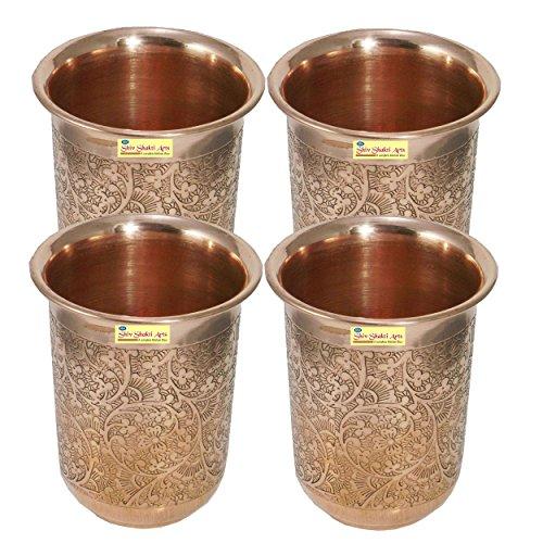 SHIV SHAKTI ARTS Handmade Pure Set Of 4 Copper Embossed Glass Tumbler Volume - 200 Ml