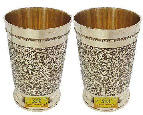 SHIV SHAKTI ARTS Handmade Set Of 2 Pure Brass Embossed Glass Tumbler Volume - 300 Ml