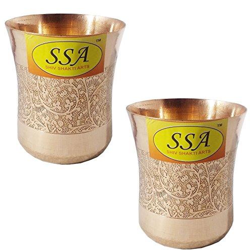 SHIV SHAKTI ARTS Handmade Set Of 2 Pure Copper Embossed Glass Tumbler Volume - 300 Ml