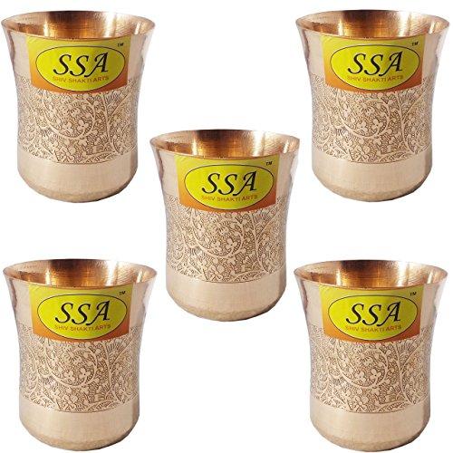 SHIV SHAKTI ARTS Handmade Set Of 5 Pure Copper Embossed Glass Tumbler Volume - 300 Ml