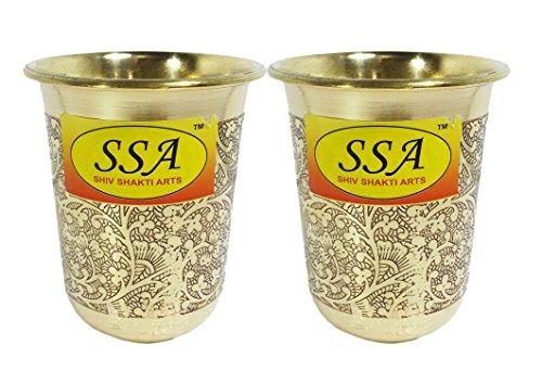 SHIV SHAKTI ARTS Handmade Setof 2 Pure Brass Embossed Glass Tumbler Volume - 200 Ml
