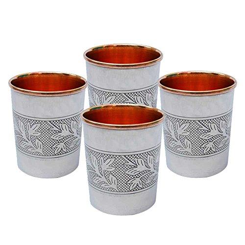 Set of 4 Steel Copper Embossed Glasses Tumbler Drinkware Handmade Tableware Kitchen Utensil Ayurvedic Health Benefits