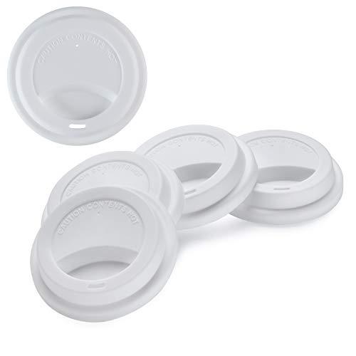 5Pack Eco Coffee Tea Mug Lid KSENDALO Reusable Silicone Travel Mug Lids for 12oz16oz Coffee Cups 10 Ozpc White Silicone Cup Cover