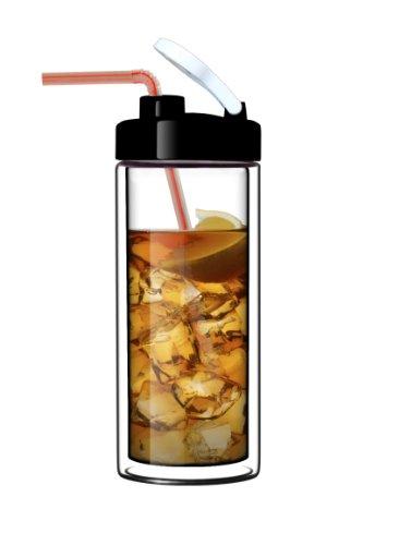 Glass Double-Wall Tumbler by Suns Tea TM  18oz Travel Mug with Lid  Ultra Clear See-Thru Borosilicate Glass