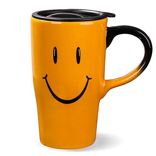 Minigift MN1001 Travel Cup Tea Coffee Mug Beautiful Ceramic Cups with Lid,Handmade Milk Mug as Gift 16oz for Women Men Kids-Orange Smile Face