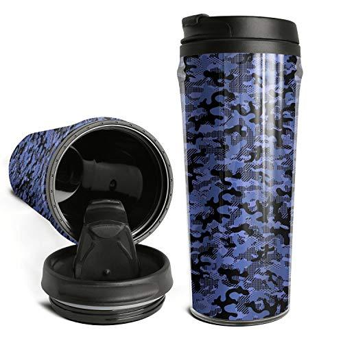 Trendy Travel Mugs Camo Camouflage Geometric Blue Coffee Mug Flip Lid Travel Sports Bottle Cups For Office Use