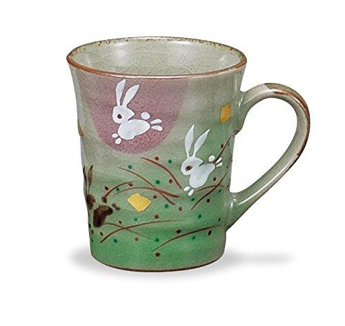 JAPANESE Kutani Pottery Mug HANE USAGI Junping Rabbit Made in Japan