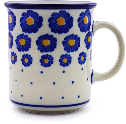 Polish Pottery Mug 10 oz made by Ceramika Artystyczna Wreath Of Blue Theme