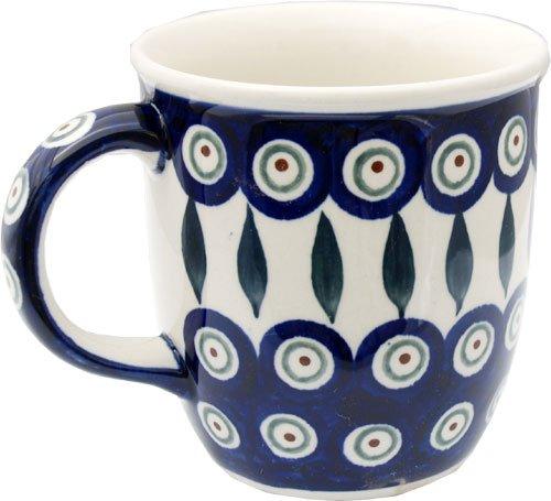 Polish Pottery Mug 12 Oz From Zaklady Ceramiczne Boleslawiec 1105-56 Peacock Pattern Capacity 12 Oz
