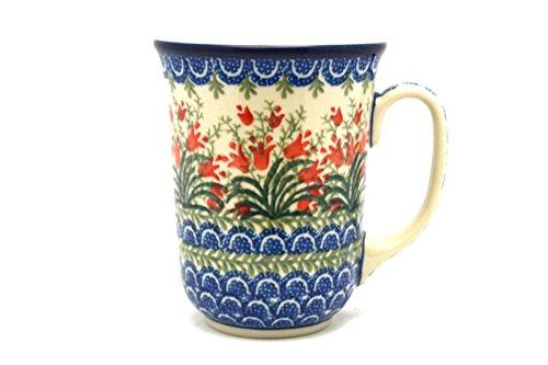Polish Pottery Mug - 16 oz Bistro - Crimson Bells