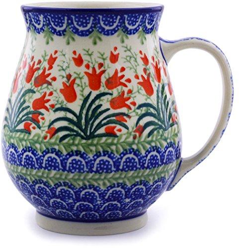 Polish Pottery Mug 17 oz made by Ceramika Artystyczna Sprouting Tulips Theme