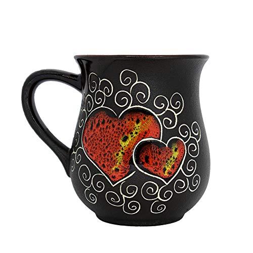 Pottery Coffee Mug Gift Idea «Red Heart» 10 fl oz