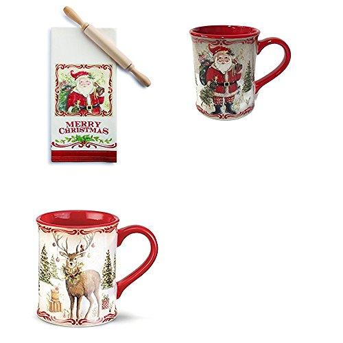 Demdaco Santa Tea Towel Rolling Pin Santa Mug and Christmas Stag Mug Set