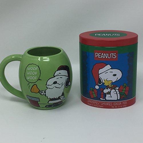 Jumbo Green Snoopy Santa Mug and Snoopy Smores Cocoa Mix