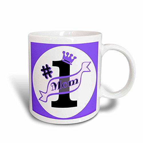 3dRose Number One Mom Purple Ceramic Mug 15-Ounce