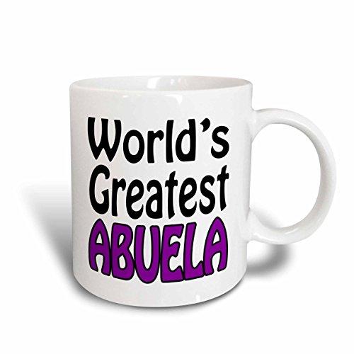 3dRose mug_159594_1 Worlds Greatest Abuela Purple Ceramic Mug 11 oz White