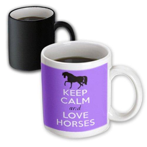 3dRose mug_193616_3 Keep Calm and Love Horses Purple Magic Transforming Mug 11 oz BlackWhite