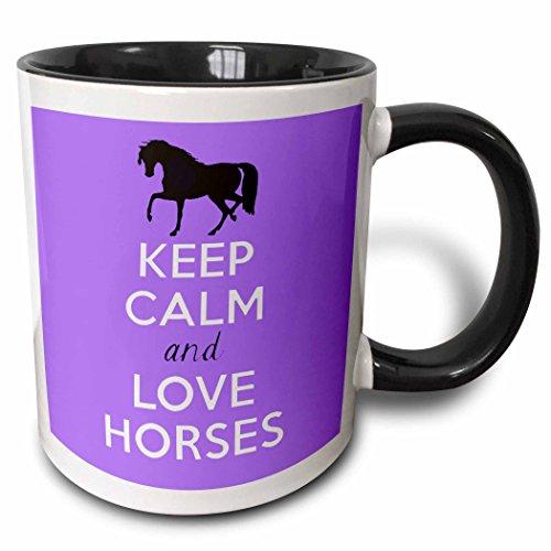 3dRose mug_193616_4 Keep Calm and Love Horses Purple Two Tone Black Mug 11 oz BlackWhite