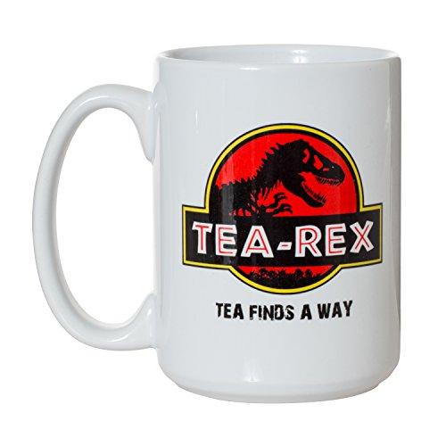 Tea Rex Tea Finds A Way Funny Mug - 15oz Deluxe Double-Sided Coffee Tea Mug