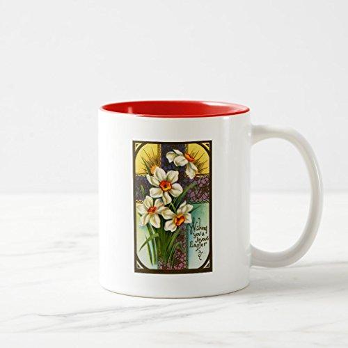 Zazzle Daffodils and Cross Vintage Easter Coffee Mug Red Two-Tone Mug 11 oz