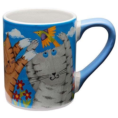 Animal World - Cats Chasing Birds Coffee Mug - Light Blue by Gibson