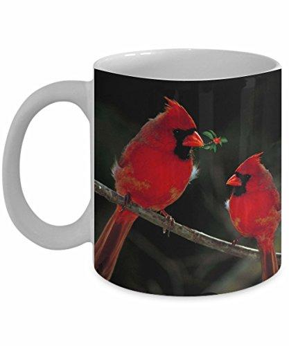 Cardinal Birds Coffee Mug White 11 oz - Unique Gifts By huMUGous