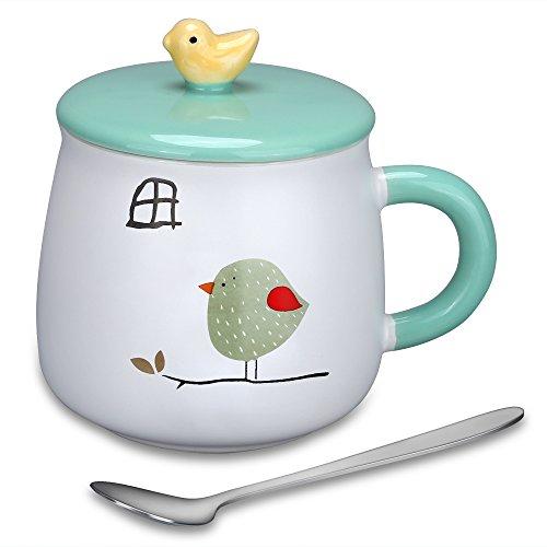 Coffee Mug Lovely Cute 3D Bird Mugs Creative Ceramic Tea Cup with Lid Spoon Kids Milk Cup  Perfect Christmas Birthday Gifts for ChildrenFriendsGirlfriendAnimal Lovers 154 Oz Bird-1