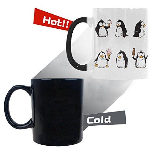 InterestPrint Cute Cartoon Penguin Morphing Mug Heat Sensitive Color Changing Coffee Mug Cup with Quotes Funny Ice Cream Summer Flightless Bird Coffee Mug Christmas Birthday Gifts