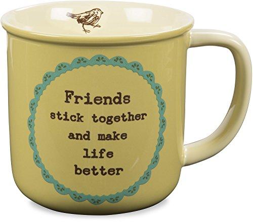 Pavilion Gift Company 23133 Live Simply Friends Stick Together and Make Life Better Bird Coffee Mug 14 oz GreenYellow