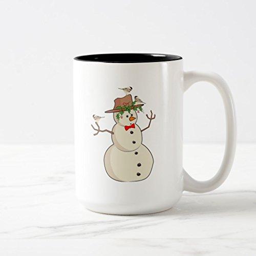 Zazzle Cute Chickadee and Snowman Winter Birds Coffee Mug Black Two-Tone Mug 15 oz