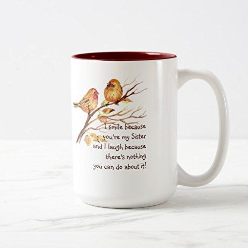 Zazzle Fun Sister Saying with Cute Birds Coffee Mug Maroon Two-Tone Mug 15 oz