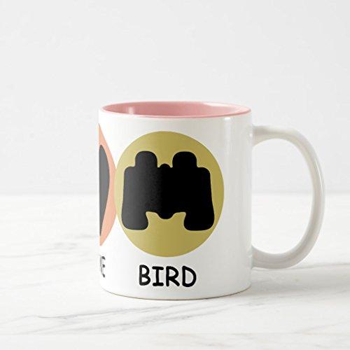 Zazzle Peace Love Bird Coffee Mug Pink Two-Tone Mug 11 oz