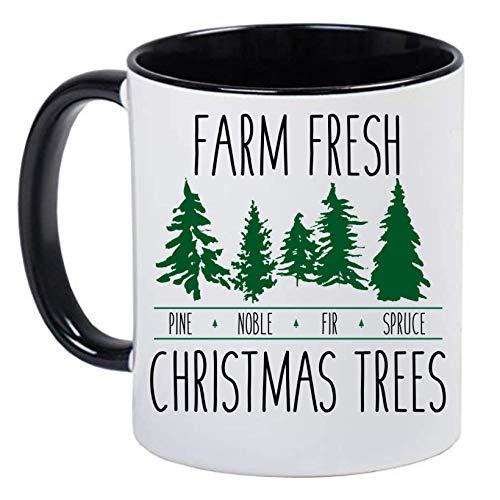Farm Fresh Christmas Trees Black and White Holiday Coffee Mug