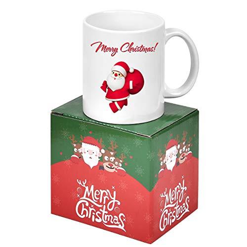 Merry Christmas Coffee Mug Printing with Santa Claus Coffee Mug White Ceramic Coffee Tea Mug Funny Xmas Holiday Gifts for Family Friends Red Santa Claus 11 Oz