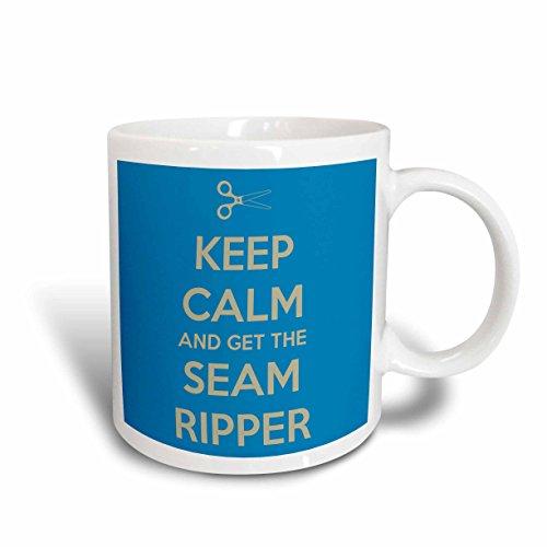 3dRose mug_172003_1 Keep Calm and Get the Seam Ripper Blue and White Ceramic Mug 11-Ounce