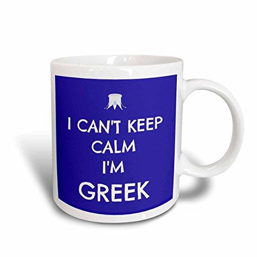 3dRose mug_172345_2 I Cant Keep Calm Im Greek Blue White Ceramic Mug 15 oz White