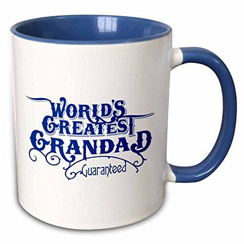 3dRose mug_219403_6 Worlds Greatest Grandad Guaranteed Design In Blue White Two Tone Blue Mug 11 oz BlueWhite