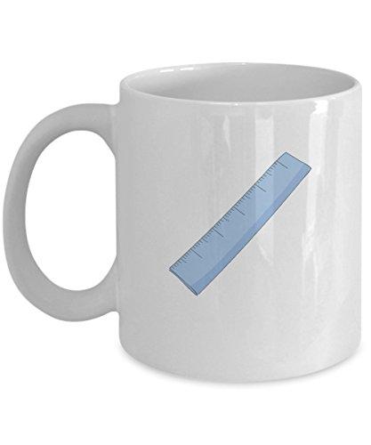 Ruler Blue White Mugs - Funny Coffee Mugs - Porcelain white Best Office Tea Mug Birthday Gag Gifts 11 oz