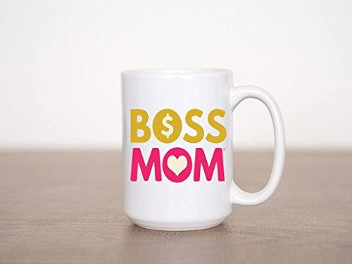 Boss Mom Logo Mug - 15 oz White Ceramic Mug with Boss Mom Printed Logo - Right or Left Handed Mug - Perfect Gift for Female Entrepreneurs Boss Women Mom Teacher Sister Aunt Best Friend