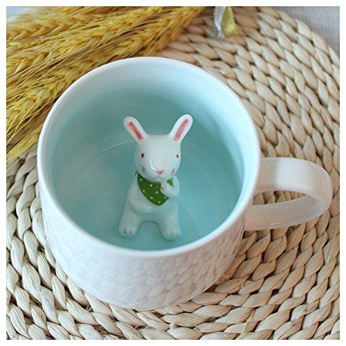 3D Cute Cartoon Miniature Animal Figurine Ceramics Coffee Cup - Baby Rabbit Inside Best Office Cup Birthday Gift Rabbit