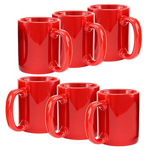 Creative Home Ceramic Coffee Mug Tea Cup Set of 6 12 oz Red