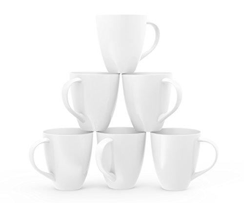 Francois et Mimi Large Ceramic Coffee Mugs 16-Ounce White Set of 6