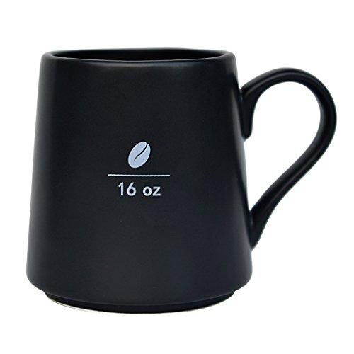 Mecraft 16 Ounce Black Ceramic Coffee Bean Mug For Men and WomenDiy For DecorationGiftbox