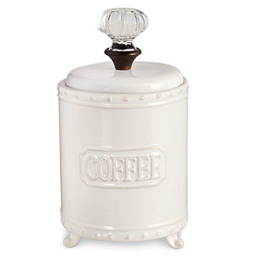 Mud Pie ceramic Coffee Canister Door Knob Handle  White