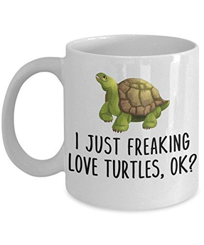 Kiwi Styles Funny Turtle Ceramic Coffee Mug Cup - I Just Freaking Love Turtle Ok  Best Christmas Birthday Gift For Turtle Lovers Grandpa Dad Mom Boy Girl Kids - 11 Oz White