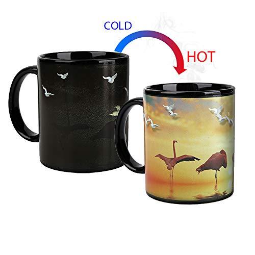 Magic Heat Changing Coffee Mug - Add Coffee or Tea and Flamingo AppearThermometer Sensitive Porcelain Tea Ceramic Coffee Funny Cup 10 OZ