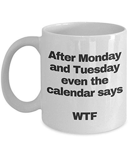 wtf mug - I hate mondays mug - funny coffee ceramic cup te tea for women men coworker -  even the calendar says