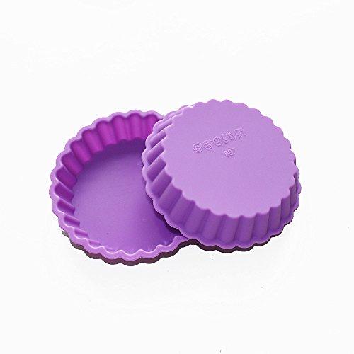 X-Haibei 2 Small Round Gelatin Pizza Cake Shallow Pan Muffin Baking Silicone Mold 4inch